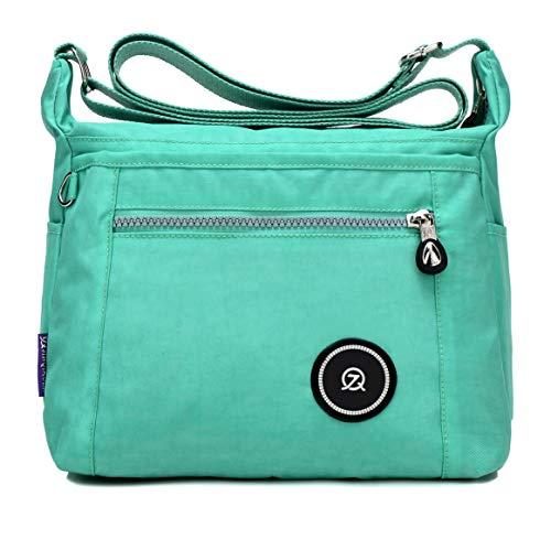 TianHengYi Girls Casual Small Nylon Cross-body Bag Multi Pockets Lightweight Shoulder Handbags & Purses 216 Green
