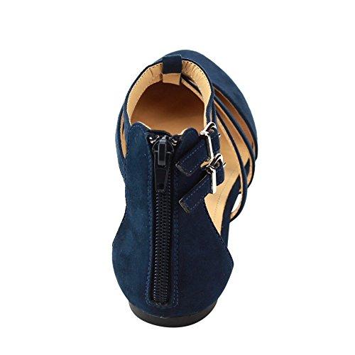 Betani FC42 Damen Doppel Knöchelriemen T-Riemen Ballerina Halb Größe groß Blau