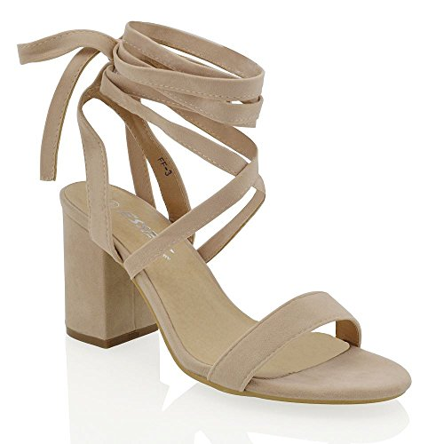 ESSEX GLAM Womens Nude Faux Suede lace up Block mid Heel Strappy Sandal Shoes 6 B(M) US