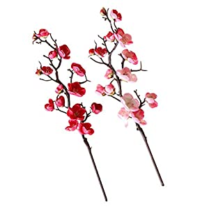Flameer Set of 2 Pcs Pink&Rose Red Real Touched Silk Artificial Cherry Blossoms Flowers for DIY Home 8