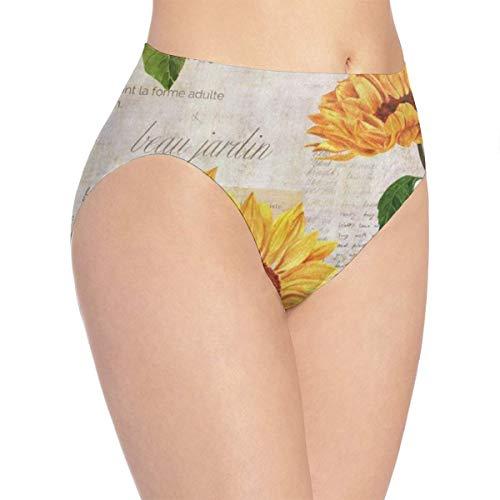 - Women's Bikini Vintage Sunflower Seamless Panties Fashion Briefs for Lady/Girls White