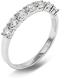 Solid 14K Yellow Gold with 7 Stone Cubic Zirconia CZ Stones Womens 1.5MM Wedding Band