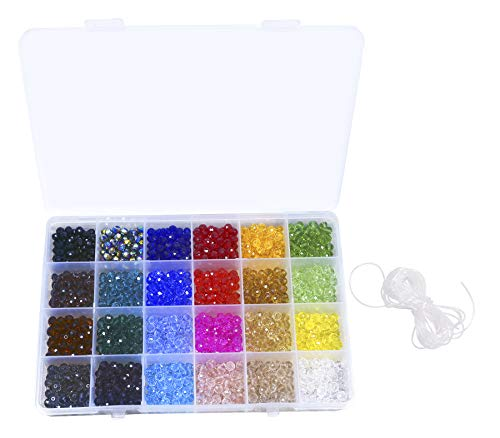 Bead Necklace Projects - Shapenty 24 Colors 6mm Decorative Hand Briolette Faceted Rondelle Crystal Glass Beads with Hole for DIY Craft Bracelet Necklace Jewelry Making, 1200 Pieces/Box