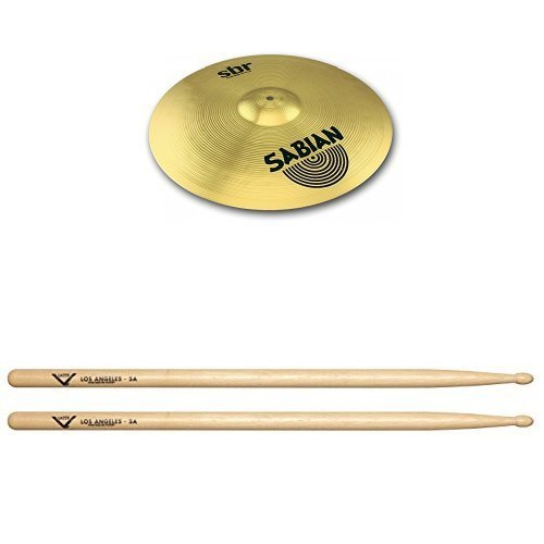 (Sabian SBR1811 SBR Series Pure Brass 18-Inch Crash/Ride Cymbal with Drum Sticks, Pair)