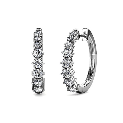 Cate & Chloe Claire Gold Hoop Earrings, 18k White Gold Hoop Earrings with Swarovski Crystals, Silver Small Hoop Earring Set for Women, Wedding Anniversary Jewelry