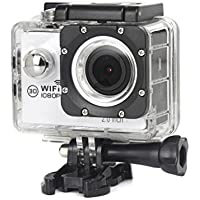 ESCENERY New Full HD 1080P WIFI H16 Action Sports Camera Camcorder Waterproof 32G Memory Card+1200 Million High-Definition Wide-Angle Lens (White)
