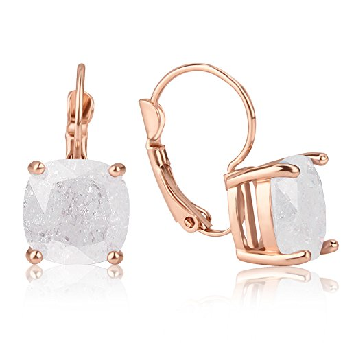 Jardme Rose Gold Plated Leverback Earrings Bezel with Square Cubic Zirconia Drop Earrings For Women (White , Amethyst and light Amethyst ) (White) Cubic Drop