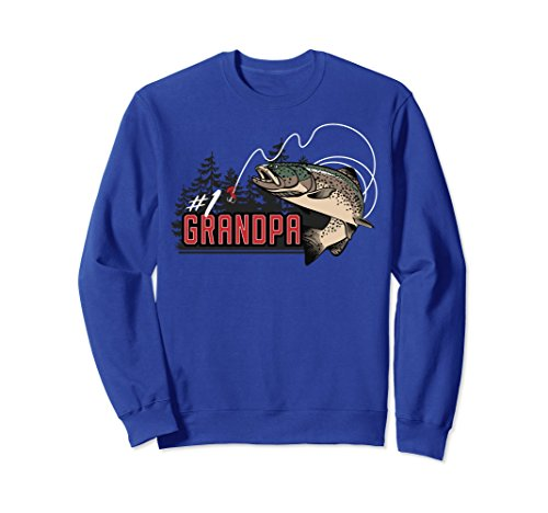 Unisex Number One Grandpa Jumping Trout Outdoors Graphic Sweatshirt 2XL Royal Blue - Jumping Trout