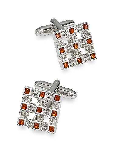 Paul Fredrick Men's Crystal Studded Cutout Square Cufflinks Brown (Brown Crystal Cufflinks)