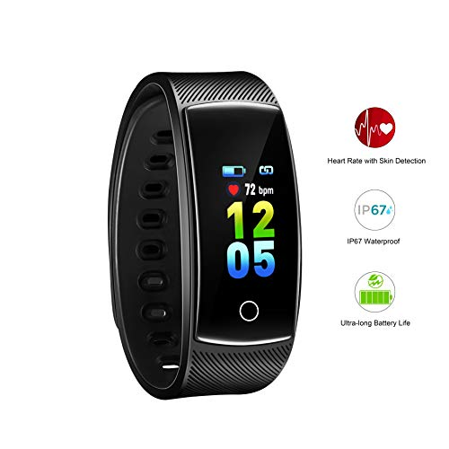 AOFIT Fitness Tracker, Ultra-Long Battery Life, Multi-Sport Modes, Smart Heart Rate, IP67 Waterproof, Color Screen Watch for Men Women Kids (Black)