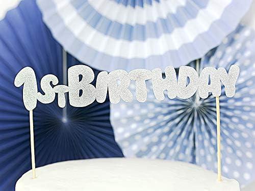Geburtstag Glittery Silver Yesido.cloud Cake Topper 1