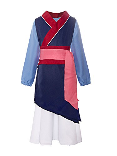 ReliBeauty Big Girls Heroine Mulan Costume Three-Piece Dress up, -