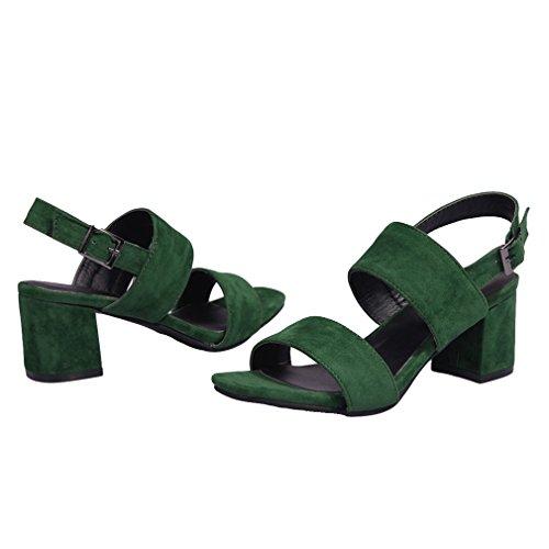 YE Damen Offen Wildleder High Heel Sandalen mit 6cm BlockAbsatz und Schnalle Legerer Komfort Schuhe Grün