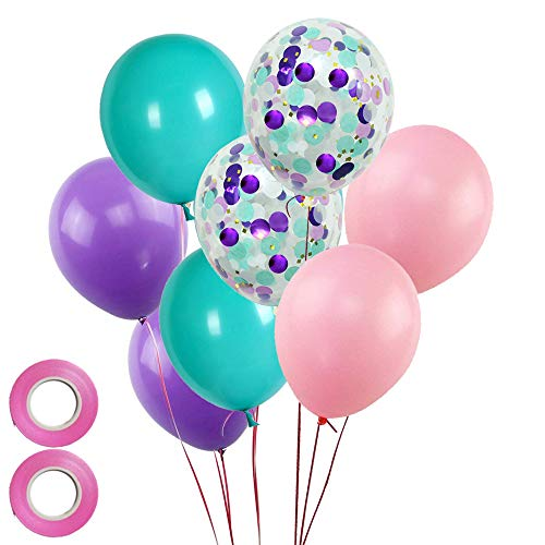 Mermaid Party Balloon 50 Count-Lavender Turquoise Pink Latex Balloons and Confetti Balloon for Girl's Mermaid Birthday Party Baby Shower Decoration -