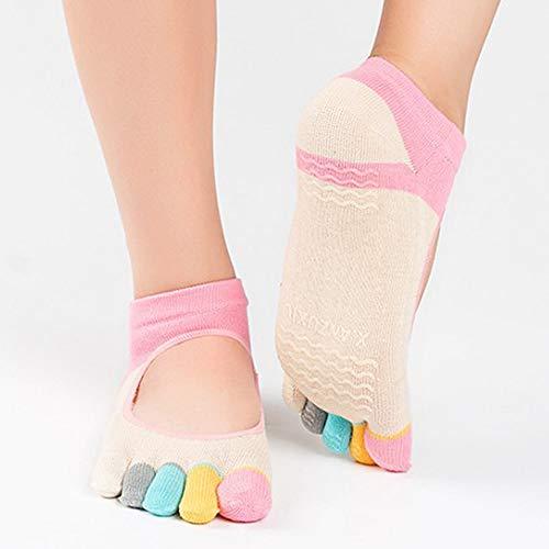 Danza Calzini Pair Sportiva Antiscivolo Pilates Traspirante Toe Backless 1  Beige Five 3pcs Calze Peep Womens ... e5f8bc6e186