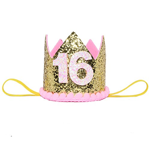 Maticr Glitter Sweet Sixteen Birthday Crown 16th Birthday Tiara Headband & 16th Anniversary Party Supplies (Pink Golden -