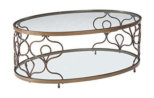 Ashley Furniture Signature Design - Fraloni Traditional Round Glass-Top Cocktail Table - Bronze Finish ()