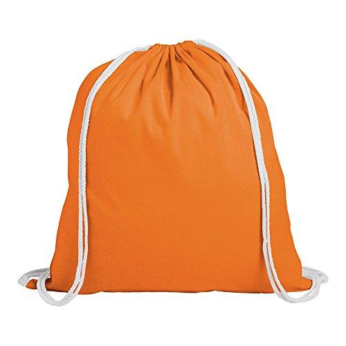 eBuyGB Pack für 10 Kinder Baumwolle Tunnelzug Rucksack - Fitnessstudio, Schwimmen, Sport, PE, Buch Tasche Orange