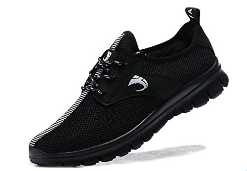 VIPMY Men's Walking Shoes Lightweight Sneakers Mesh Breathable Running Shoes Casual Athletic Fitness Shoes (44 M EU/10 D(M) US, All Black)