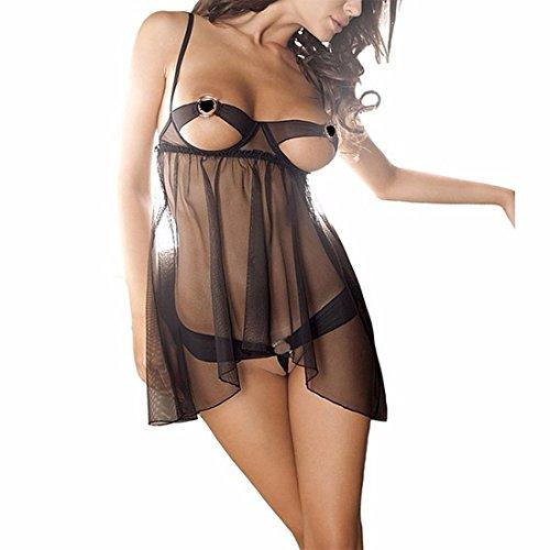Tiaobug Babydoll Lingerie 2tlg. Nachtkleid mit String Unterwäsche Damen Dessous Set Negligee Reizwäsche