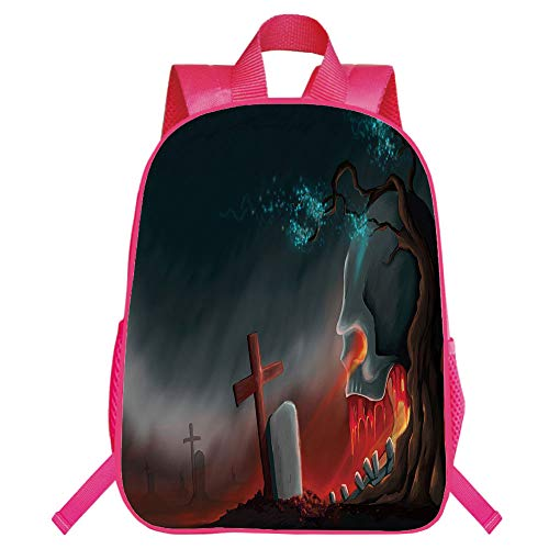 Print Red Monolayer Rucksack,Halloween,Graveyard Cemetery Tree with Evil Skull Tomb Stone Cruciform Creepy Fantastic Decorative,Multicolor,for Kids,Pictures Print Design.15.7