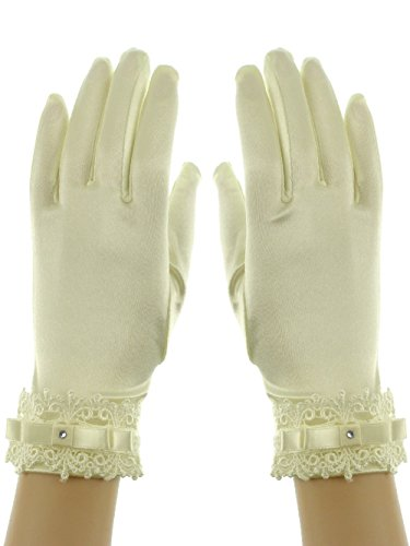 Wrist Length 9-inch Lace Cuff Ribbon Crystal Bridal Shinny Stretch Satin Glove Ivory (Gloves Bridal Wrist Length)
