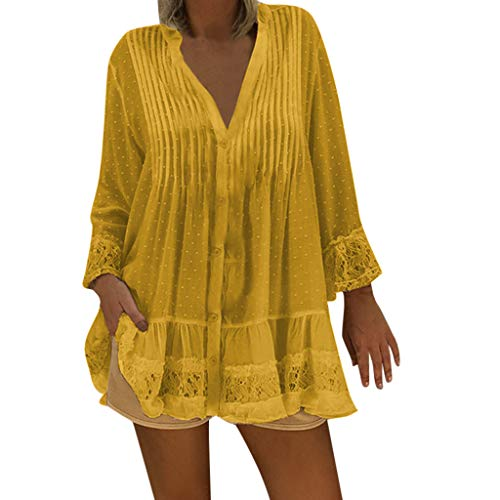 - Hopeg Women's V Neck midi Length Sleeves Bohemia Hollow Beach Cover Plus Size, Ladies Vintage Hippie Baggy Loose Relaxed fit Blouse Shirts