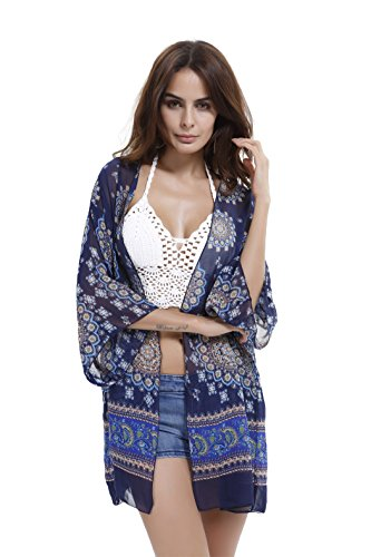 DDSOL Women's Swimwear Summer Floral Print Long Sleeve Cardigan Casual Beach Wear Bikini Kimono Cover Up (One Size, Royal Blue)