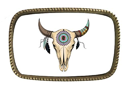 ed Skull With Native American Designs Brass Belt Buckle Full Color Design ()