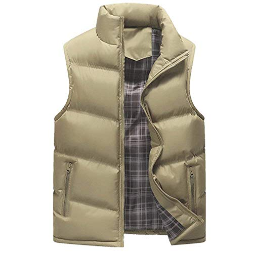 Coat Warm Down Vest BoBoLily Zipper Casual Jacket Men Men Men's Vest Coat Sleeveless Khaki Winter Winter Quilted nqpH4wZ
