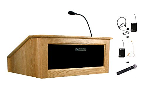 (Amplivox Sound Systems SW3025 Wireless Victoria Tabletop Lectern with Electret Gooseneck Mic 23.5