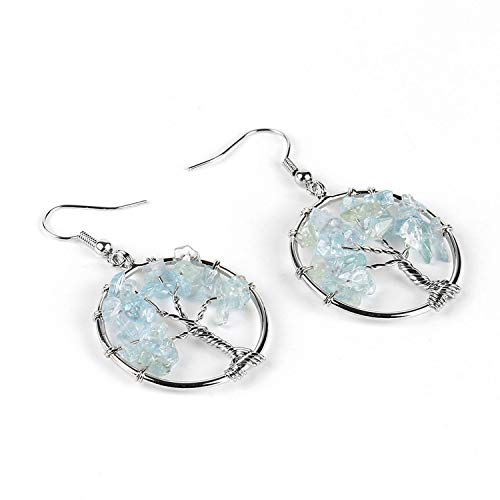 Tree of Life Women Drop Earrings Round Natural Chip Gem Stone Opal Tiger Eye White Crystal Dangle Hook Earring Jewelry,Aquamarine ()