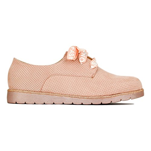 Zapato de con Cordones Raso Calado Buonarotti Rosa Z4qzRx4P