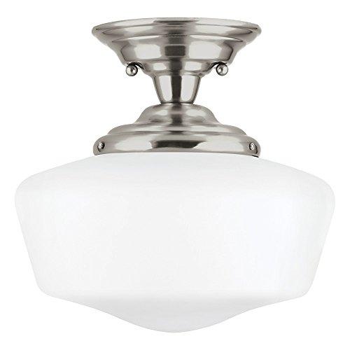 (Sea Gull Lighting 7743791S-962 Academy LED Semi-Flush Mount Ceiling Light with Glass Shade, Brushed Nickel Finish)