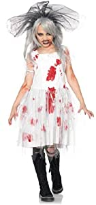 Lets Party By Leg Avenue Zombie Bride Child Costume / White/Red - Size Large (10-12)