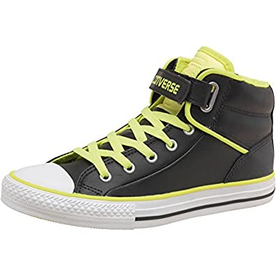 78adbe025225 Converse Boys All Star Padded Collar Loopback Mid Leather Black Yellow - 4  UK 4