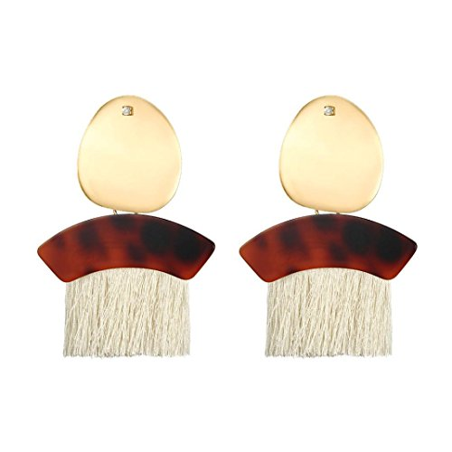 Ladies Fashion Drop (HUG(TM) Fashion Womens Ladies Leopard Print Semicircle Fan Shape Tassel Earrings Hoop Dangle Ear Drop (White))