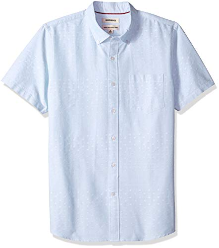 - Goodthreads Men's Standard-Fit Short-Sleeve Dobby Shirt, -light blue x, XX-Large Tall