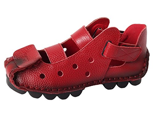 Vogstyle Women's New Summer Sandals Vintage Handmade Genuine Leather Flats Shoes Style 2-Red