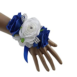 Royal Blue, White, and Silver Grey Artificial Wrist Corsage for Prom, Party, Wedding 51