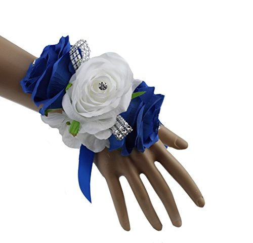 Royal Blue, White, and Silver Grey Artificial Wrist Corsage for Prom, Party, Wedding