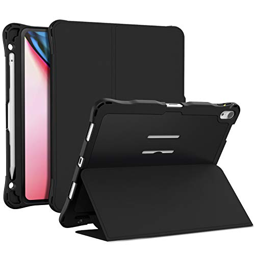 Case Compatible Apple iPad Pro 12.9 2018 - Fully Protection Smart Cover Shockproof Back Case, Multiple Viewing Angles Stand, Pencil Holder Compatible for Apple iPad Pro 12.9 inch Tablet(Black