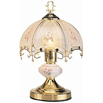 OK Lighting OK-606WG 14.25-Inch Touch Lamp with White Glass Floral ...