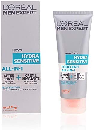 L'Oréal Paris Men Expert Todo en 1 After-Shave + Hidratante Hydra Sensitive para Hombres con Piel Sensible - 75ml