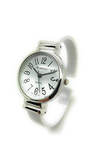 Ladies Stylish Acrylic Bangle Cuff Fashion Watch Round Case White Dial Wincci (White)
