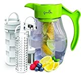 : Fruit & Tea Infusion Flavor Pitcher - FREE Infuser Recipe Ebook - Water & tea infuser jug includes 3 infusers for fruit, tea and ice to enhance the flavor of water - Perfect for detox & weight loss