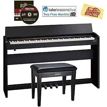 roland f 140r digital piano contemporary black bundle with roland rpb 100 bench. Black Bedroom Furniture Sets. Home Design Ideas