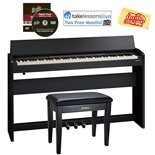Roland F-140R Digital Piano - Contemporary Black Bundle with Roland RPB-100 Bench, Online Lessons, Austin Bazaar Instructional DVD, and Polishing Cloth