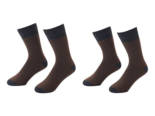 Croft & Barrow Men's Cold Weather Comfort Wool Blend Boots Socks (4 Pair) (Brown)