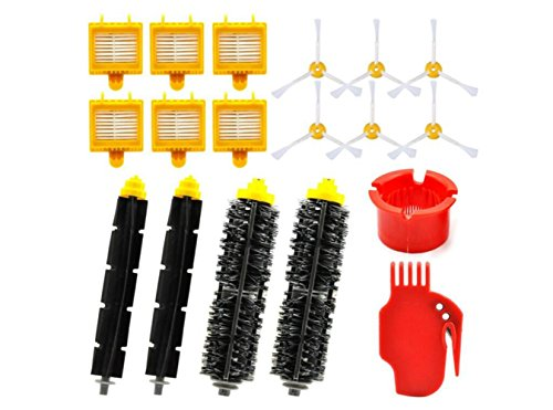 Replacement Kit for Irobot Roomba 700 760 770 780 790 with 6 Side Brushes,6 Filters,2 Bristle Brush,2 Flexbile Beater and 2 Cleaning Brushes